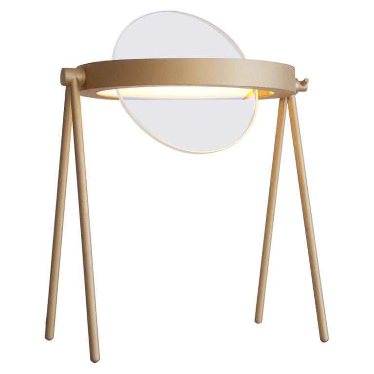 Janus Table Lamp by Trueing, Brushed Brass and Dichroic Glass For Sale
