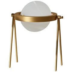 Janus Table Lamp by Trueing, Brushed Brass and White Glass