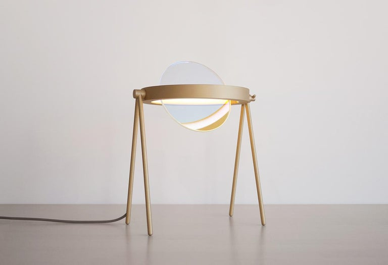 Janus Table Lamp in Brass and Dichroic Glass by Trueing In New Condition For Sale In New York, NY