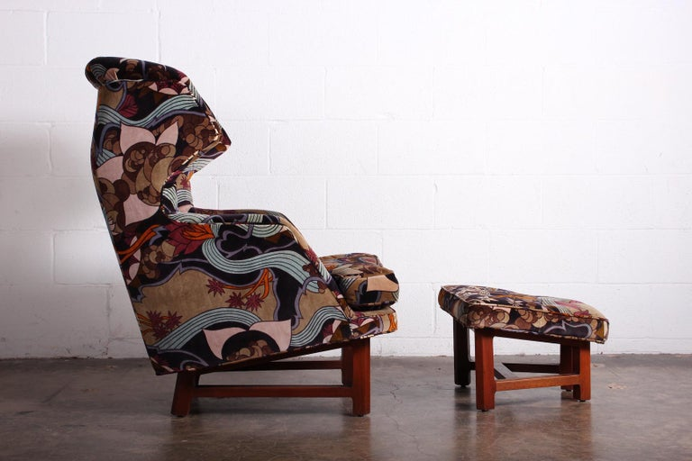 Mid-20th Century Janus Wing Chair and Ottoman by Edward Wormley for Dunbar For Sale