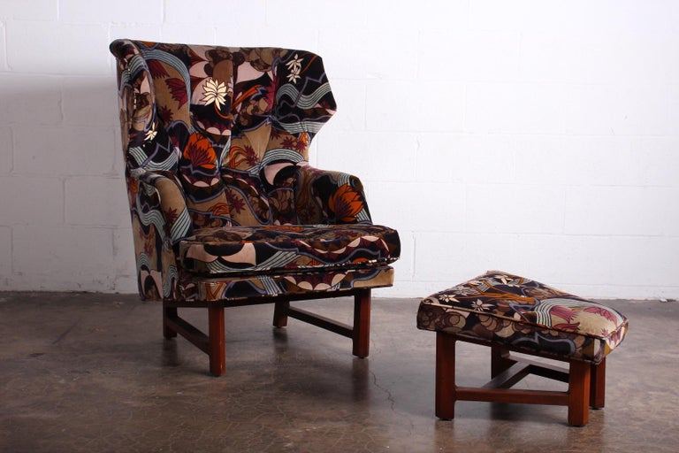 Fabric Janus Wing Chair and Ottoman by Edward Wormley for Dunbar For Sale