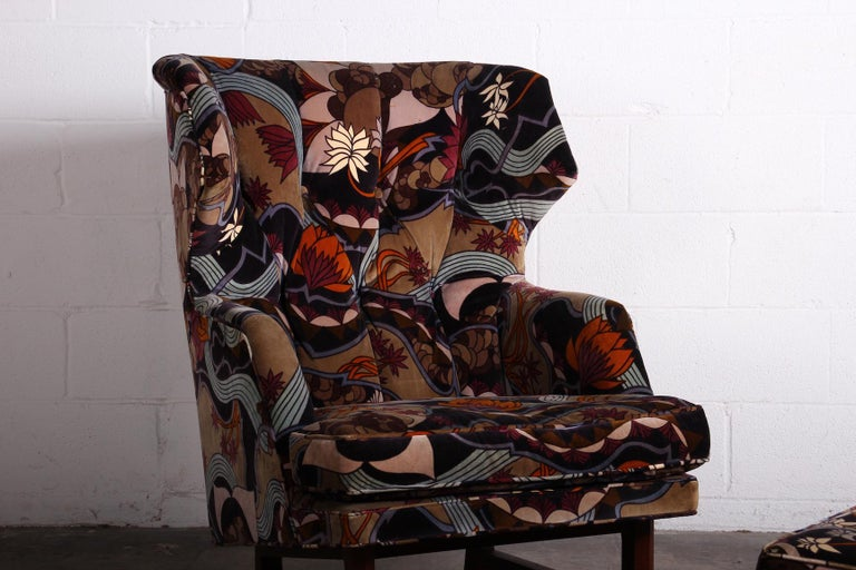 Janus Wing Chair and Ottoman by Edward Wormley for Dunbar For Sale 1
