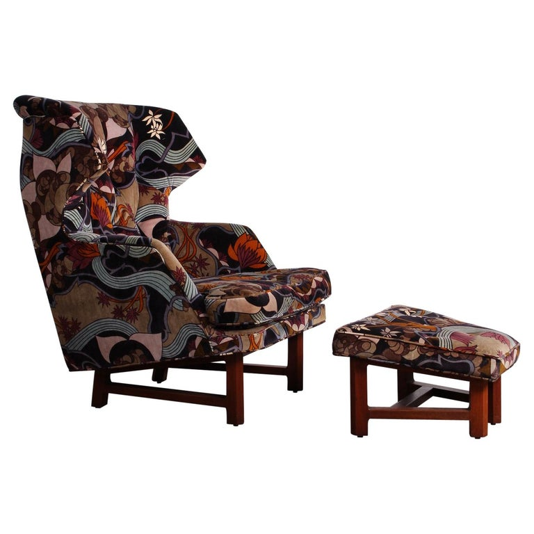 Janus Wing Chair and Ottoman by Edward Wormley for Dunbar For Sale