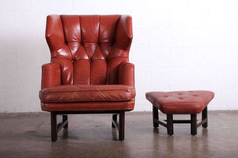 Janus Wing Chair and Ottoman by Edward Wormley for Dunbar in Original Leather For Sale 8