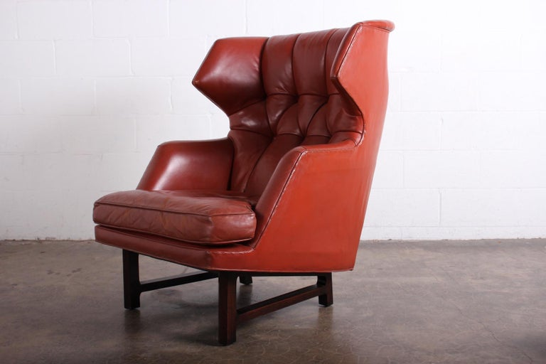 Janus Wing Chair and Ottoman by Edward Wormley for Dunbar in Original Leather For Sale 10