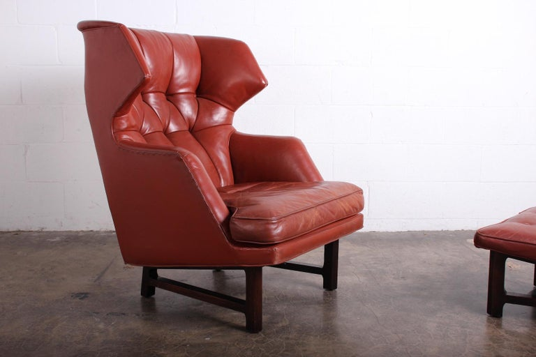 Janus Wing Chair and Ottoman by Edward Wormley for Dunbar in Original Leather For Sale 11