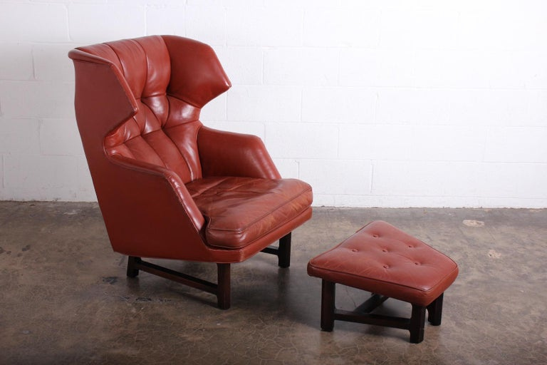 Mid-20th Century Janus Wing Chair and Ottoman by Edward Wormley for Dunbar in Original Leather For Sale