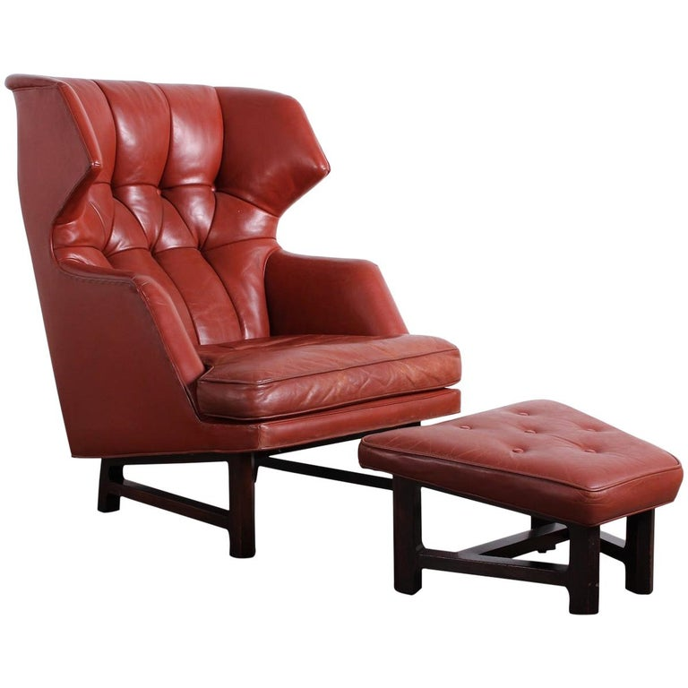 Janus Wing Chair and Ottoman by Edward Wormley for Dunbar in Original Leather For Sale