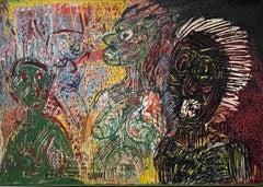 Large Figurative Neo Expressionist Polish Oil Painting Janusz Akermann Brutalist