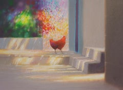 HEN - Contemporary Landscape and Animal Oil Pastel  Painting, Warm Tones