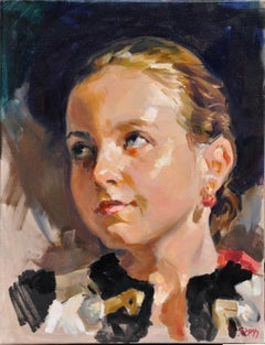 A mountain girl - 21 Century, Contemporary Portrait Oil Painting, Realistic