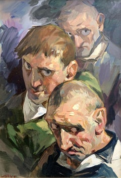 A trio - XXI Century, Contemporary Figurative Oil Painting, Realism, Portrait