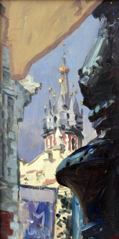 Cracow - Contemporary Cityscape Oil Painting, Realism, Architecture, Figurative
