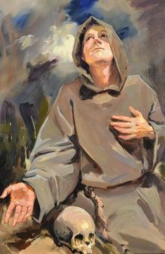 St Francis - 21 Century, Contemporary Portrait Oil Painting, Realistic