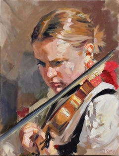 Violin player - 21 Century, Contemporary Portrait Oil Painting, Realistic