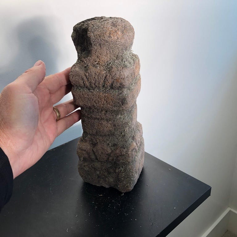 A rare gem plucked from an old Japanese garden  Japan, a fine antique and surviving Gorinto or tiered Stupa sculpted in one piece in a convenient portable size from a light gray stone.   This one is early and quite scarce. It is the first