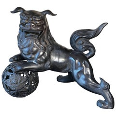 Japan Antique Big Handsome Bronze Lion Guardian Dog koma-inu Taisho, 1915 Signed