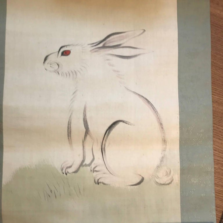 Taisho Japan Antique Big Ear Rabbit Silk Scroll, Vibrant Colors, Hand-Painted & Signed For Sale