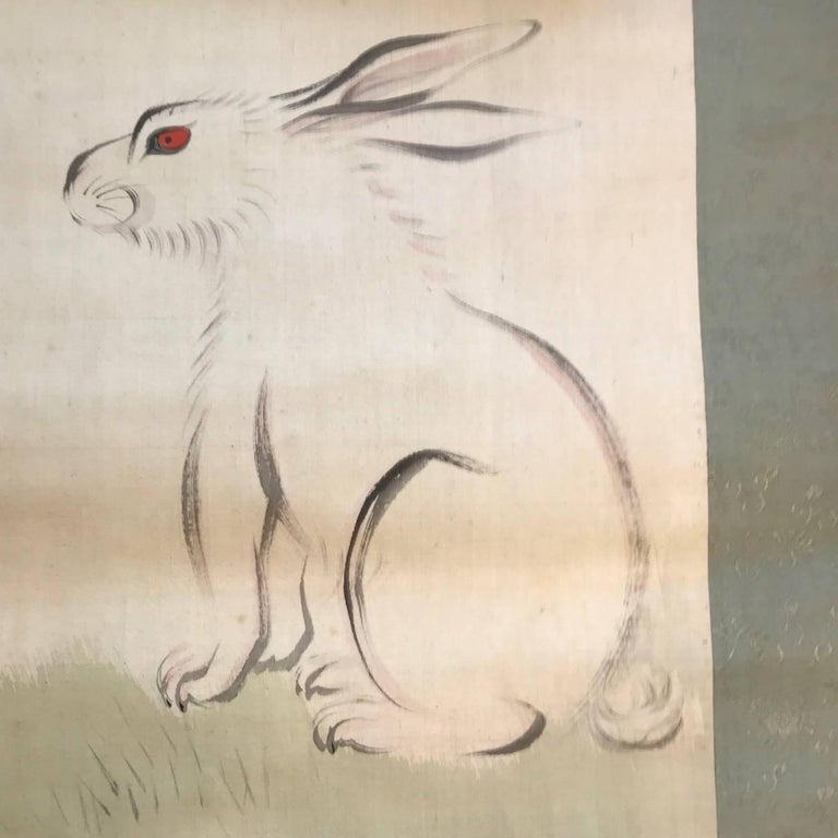 Japanese Japan Antique Big Ear Rabbit Silk Scroll, Vibrant Colors, Hand-Painted & Signed For Sale