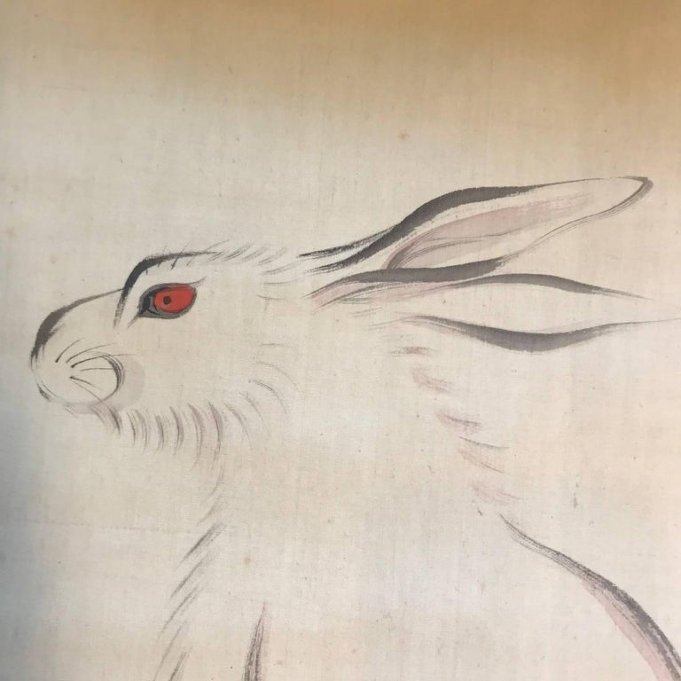 Japan Antique Big Ear Rabbit Silk Scroll, Vibrant Colors, Hand-Painted & Signed In Good Condition For Sale In Shelburne, VT