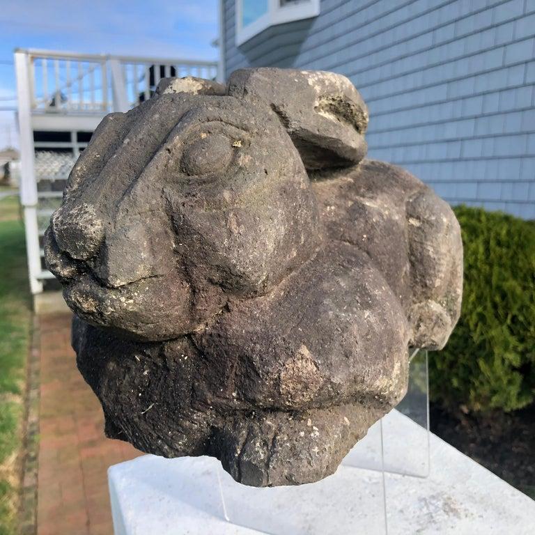 Stone Japan Carved Garden Rabbit, Big Ears For Sale