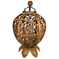 "Japan Antique Gilt ""Openwork"" Temple Lantern, Exquisite Details"