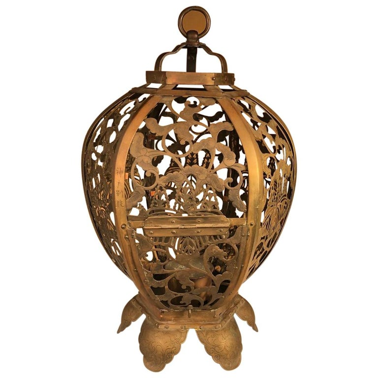 "Japan Antique Gilt ""Openwork"" Temple Lantern, Exquisite Details For Sale"