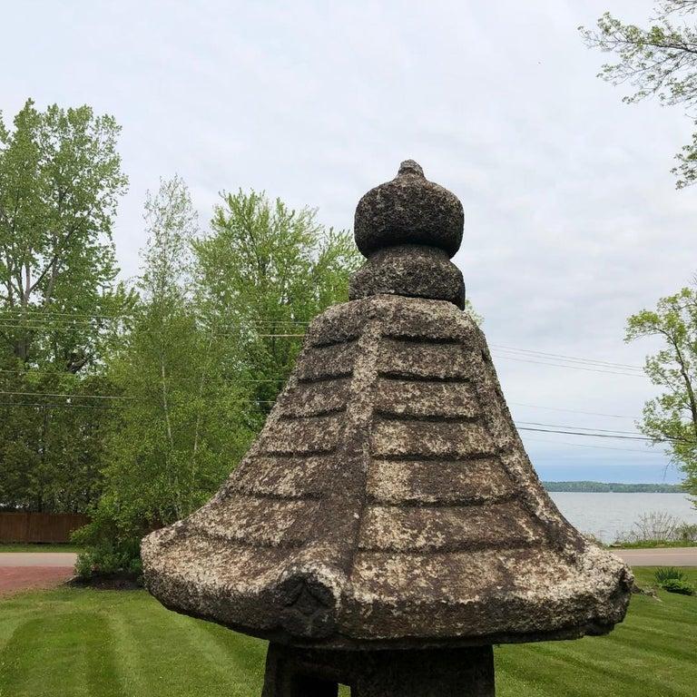 Hand-Carved Japan Antique Granite Stone Lantern, Edo Period 19th Century For Sale