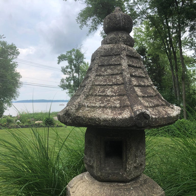 Japan Antique Granite Stone Lantern, Edo Period 19th Century For Sale 7