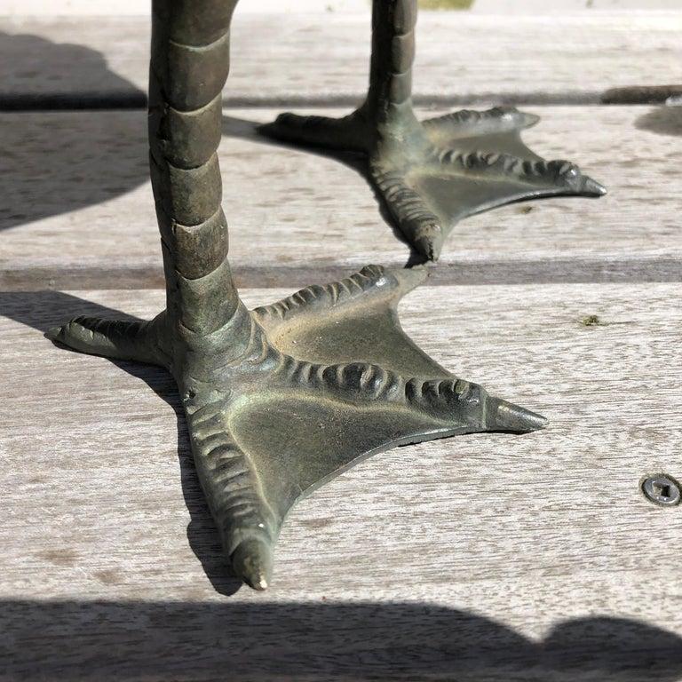 Japan Antique Large Hand Cast Pair Bronze Garden Ducks, Beautiful Details For Sale 6