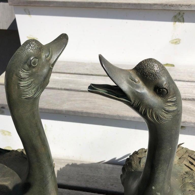 Taisho Japan Antique Large Hand Cast Pair Bronze Garden Ducks, Beautiful Details For Sale