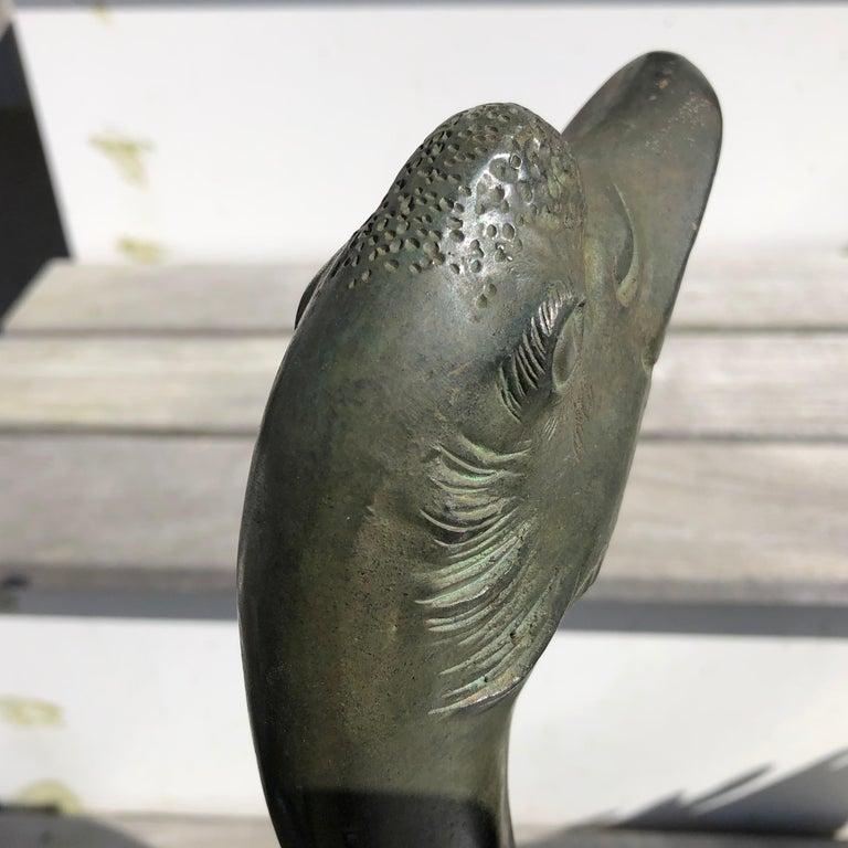 Japanese Japan Antique Large Hand Cast Pair Bronze Garden Ducks, Beautiful Details For Sale