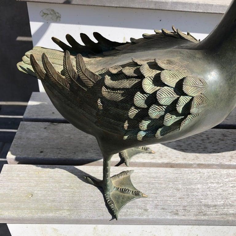 Japan Antique Large Hand Cast Pair Bronze Garden Ducks, Beautiful Details In Good Condition For Sale In Shelburne, VT
