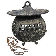 "Japan Beautiful Antique Bronze ""Basket Weave"" Garden Lantern, 100 Yrs Old"