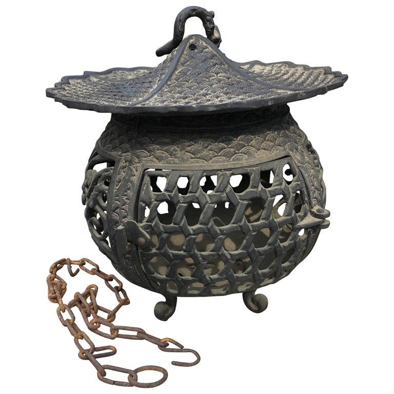 "Japan Beautiful Antique Bronze ""Basket Weave"" Garden Lantern, 100 Yrs Old For Sale"