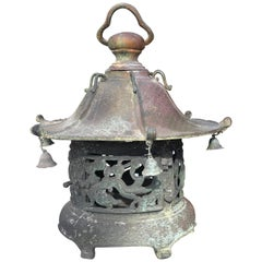"Japan Beautiful Antique Bronze ""Bells & Dragons"" Garden Lantern, 100 Yrs Old"