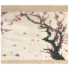 Japan Beautiful Pink Antique Plum Hand-Painted Scroll, 19th Century