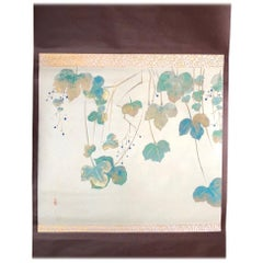 Japan Beautiful Wine Grapes Green, Blue and Gold Antique Hand-Painted Scroll