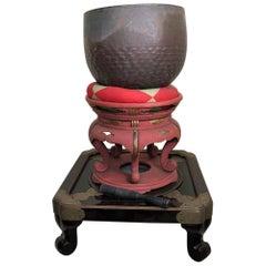 Japan Big Antique Bronze Meditation Bell on Stand, Serene Sounding