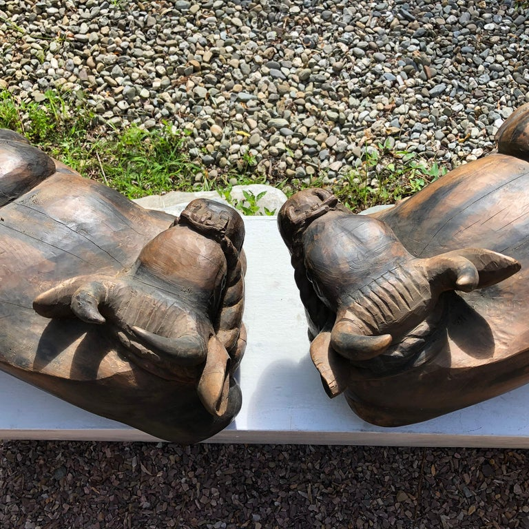 Japan Big Antique Glass Eye Bulls Pair of Sculptures, Important Temple Find For Sale 3