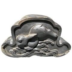 Japan Big Eared Scampering Rabbit Ornamental Tile, Usagi
