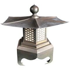 """Japan Big Elegant Antique Cast Bronze """"Broad Roof"""" Lantern With Fine Details"""