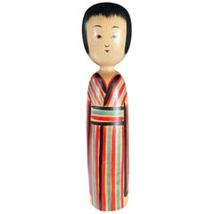 "Japan Big Old ""Candy Stripes"" Kokeshi Doll Hand Carved Signed"