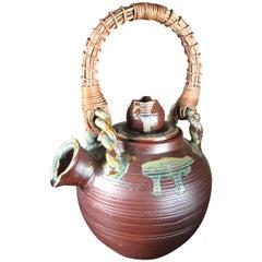 Japan Big Older Flower Pot Tea Vessel, Finely Crafted with Colorful Glaze