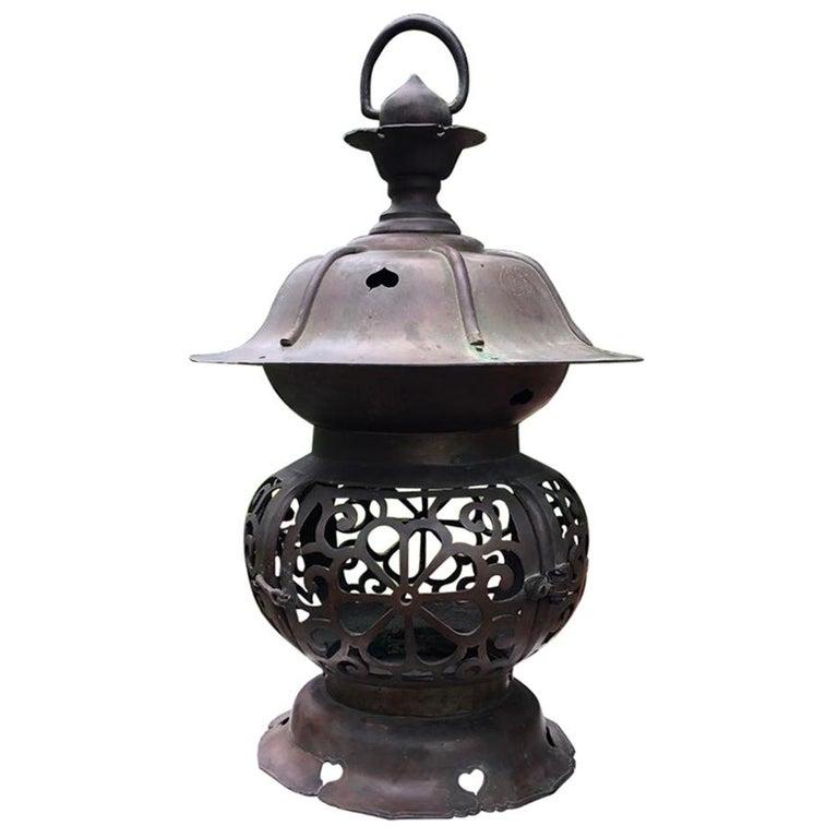 "Japan Big Tea House ""Heart Motif"" Bronze Garden Lantern, 100 Years Old For Sale"