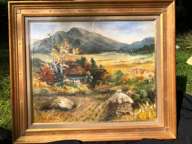 A pleasant and intriguing well drawn and composed Japanese impressionist oil painting of a captivating