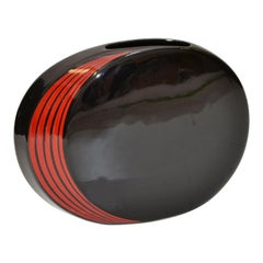 Japan Ceramic Black and Red Round Flat Vase Mid-Century Modern