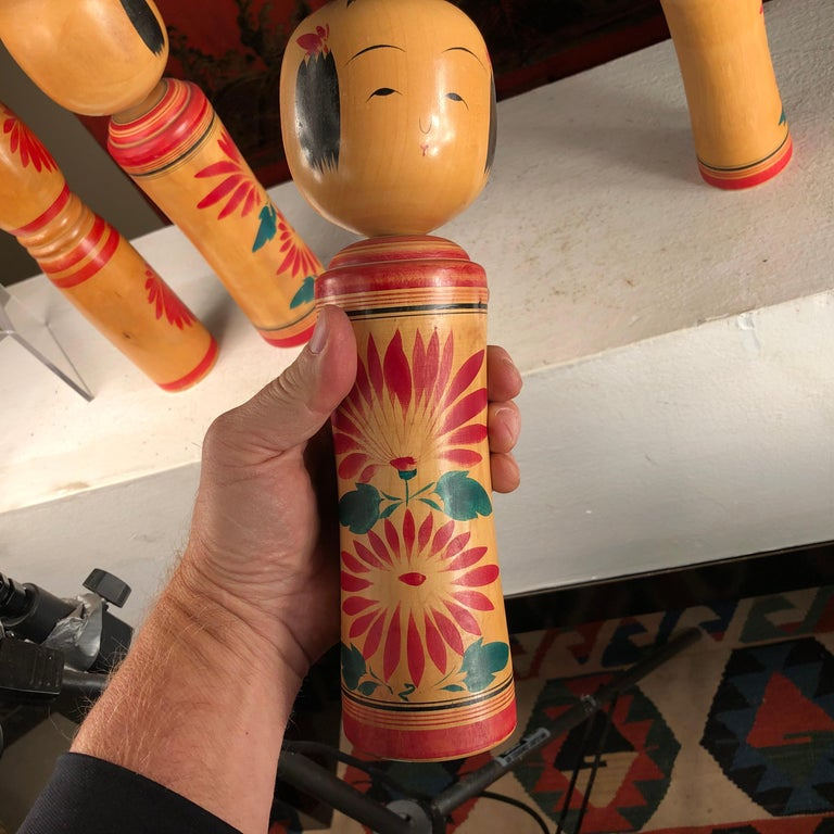 Japan Family Four Big Old Japanese Famous Kokeshi Dolls, Hand Painted, Signed For Sale 8