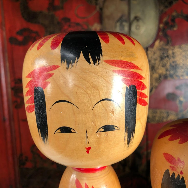 Showa Japan Family Four Big Old Japanese Famous Kokeshi Dolls, Hand Painted, Signed For Sale
