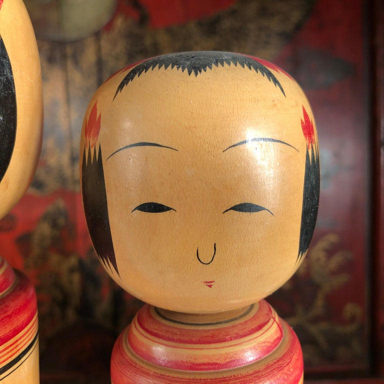 20th Century Japan Family Four Big Old Japanese Famous Kokeshi Dolls, Hand Painted, Signed For Sale